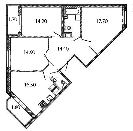 Планировка Трёхкомнатная квартира площадью 88.5 кв.м в ЖК «Ласточкино Гнездо»