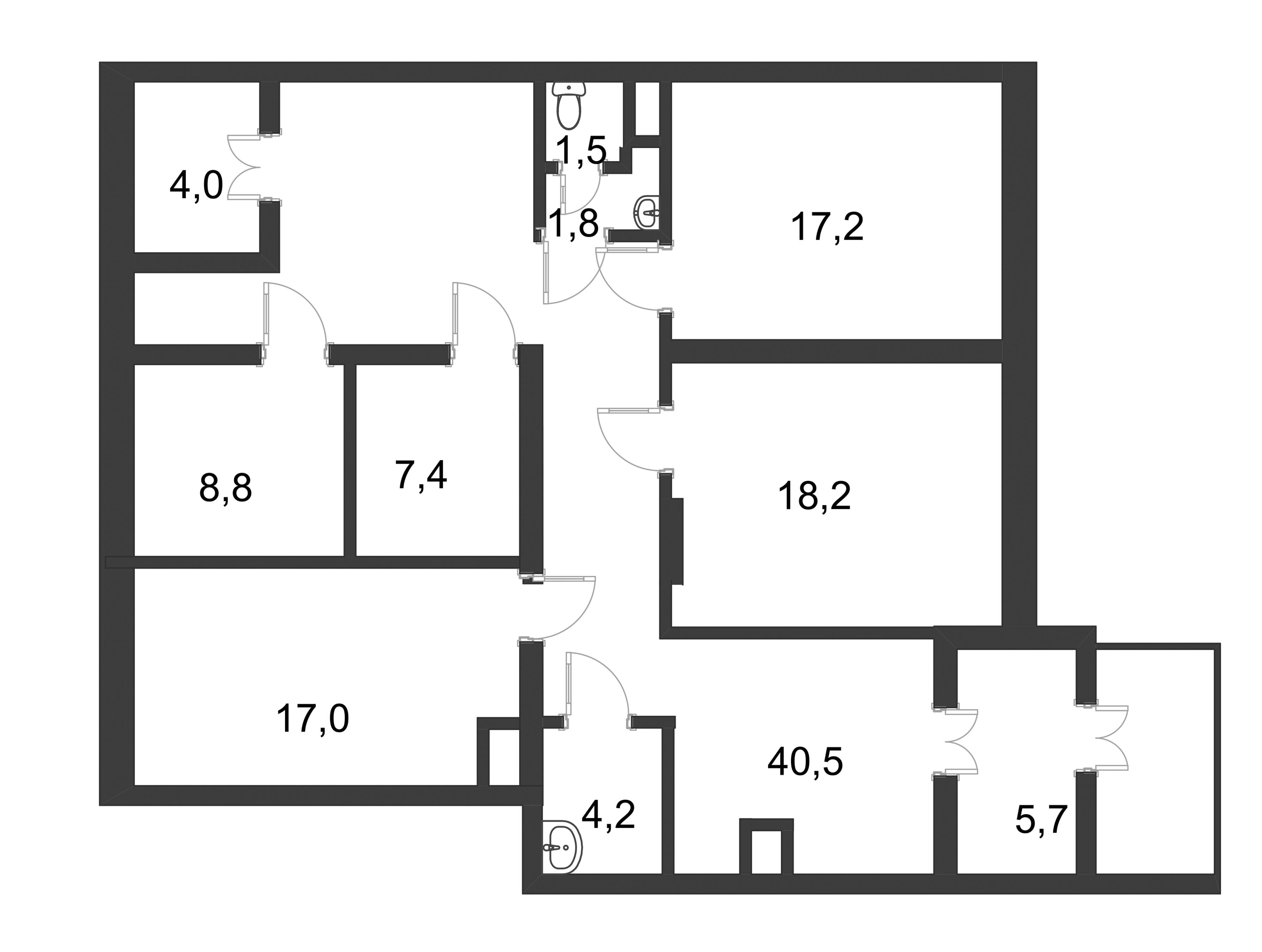 Планировка Коммерческое помещение площадью 126.3 кв.м в ЖК «Ласточкино Гнездо»