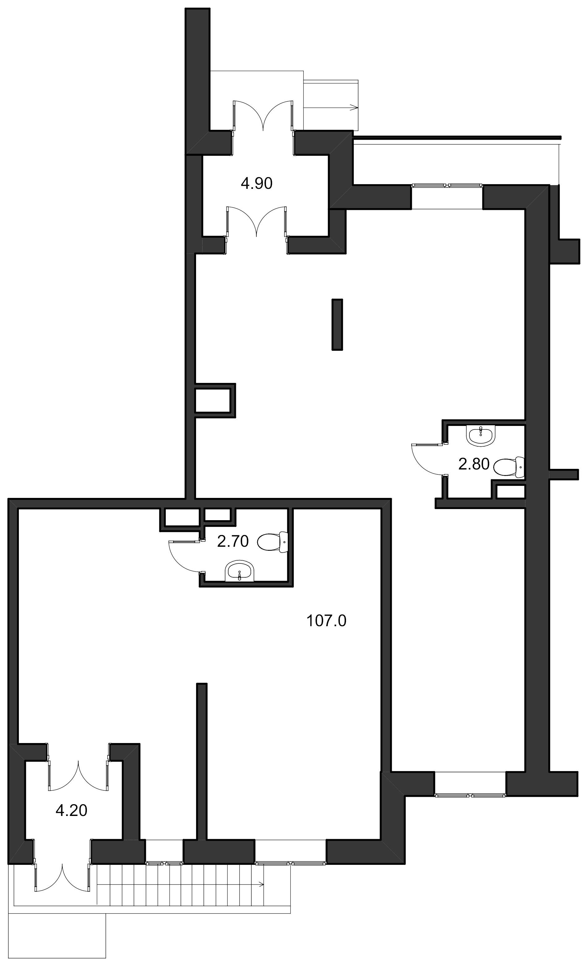 Планировка Коммерческое помещение площадью 121.6 кв.м в ЖК «Ласточкино Гнездо»
