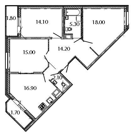 Планировка Трёхкомнатная квартира площадью 89.1 кв.м в ЖК «Ласточкино Гнездо»