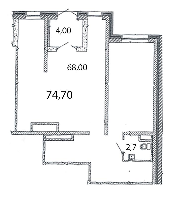 Планировка Коммерческое помещение площадью 74.7 кв.м в ЖК «Ласточкино Гнездо»